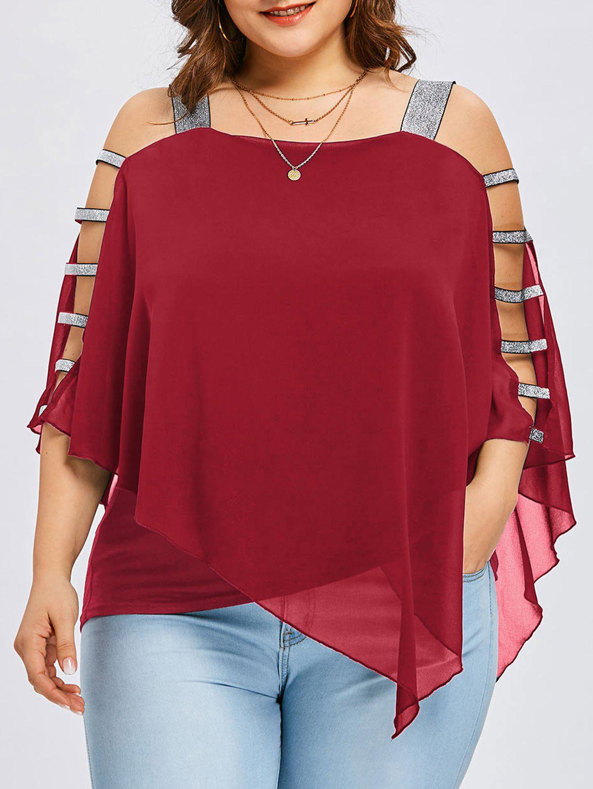 Shops Plus Size Ladder Cut Flowy Blouse