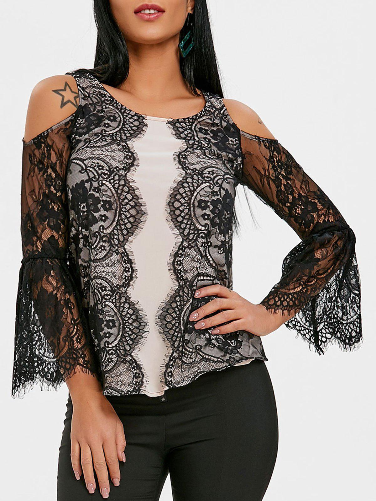 Affordable Lace Insert Eyelash Belly Sleeve Blouse