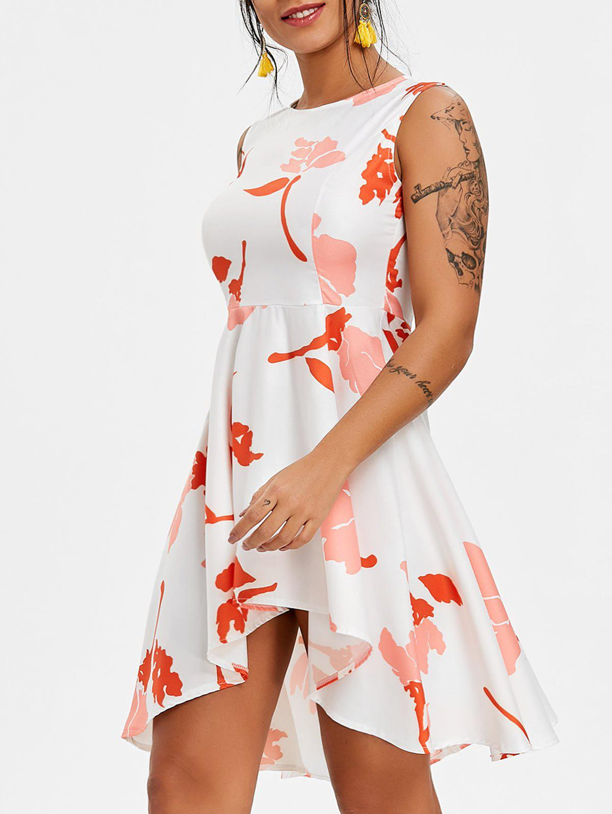 Discount Printed High Low Mini Skater Dress