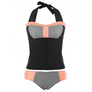 Halter Stripe Ruched Tankini Set -