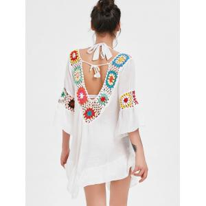 Crochet Panel Flounce Tunic Cover Up -