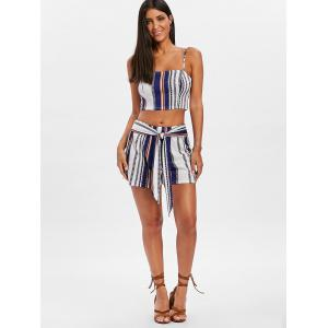 Tie Striped Shorts Two Piece Set -