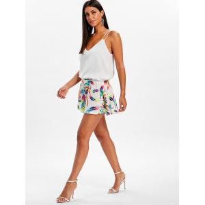 Feather Print Wide Leg Shorts -