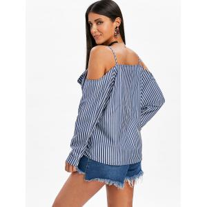 Open Shoulder Button Up Striped Blouse -