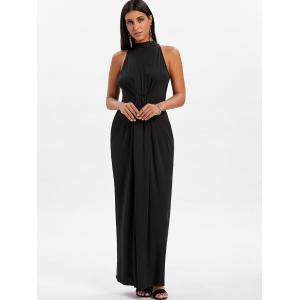 Mock Neck Knot Maxi Dress -