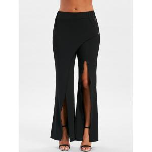 Buttoned Front Slit Overlap Flare Pants -