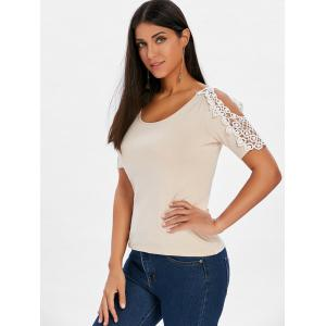 Crochet Lace Panel Short Sleeve T-shirt -