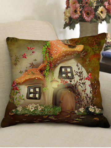 Discount Mushroom House Flower Printed Home Decor Pillowcase
