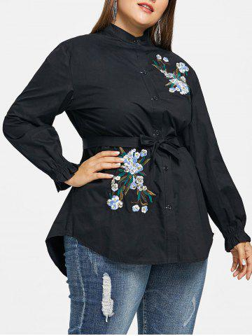 Buy Plus Size Elastic Cuffs Floral Embroidery Shirt