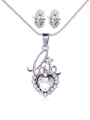 Hot Rhinestone Love Heart Necklace with Earring Set