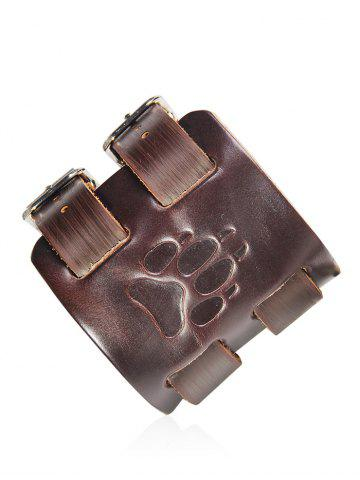 Store Faux Leather Wolf Claw Print Cowboy Bracelet