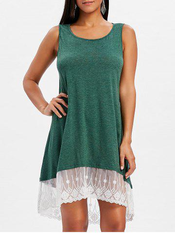 Chic High Low Lace Panel Shift Dress