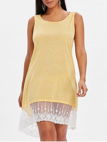 Trendy High Low Lace Panel Shift Dress