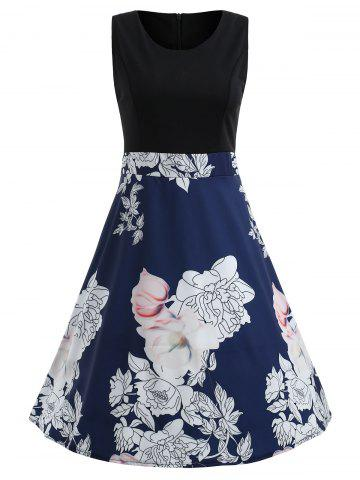 Latest Floral Print Color Block Flare Dress