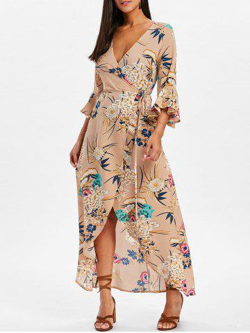 Outfits Bell Sleeve Flower Print  Wrap Maxi Dress