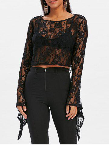 Outfit Bell Sleeve Lace Crop Blouse