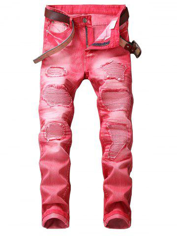Store Zip Fly Straight Leg Destroyed Biker Jeans
