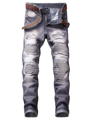Chic Zip Fly Straight Leg Destroyed Biker Jeans