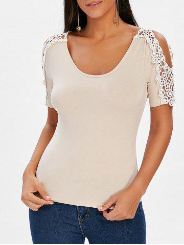 Shop Crochet Lace Panel Short Sleeve T-shirt