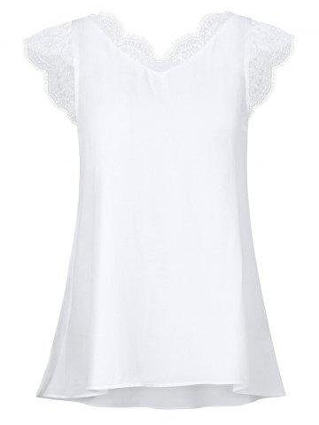 Scalloped Lace Panel High Low Blouse