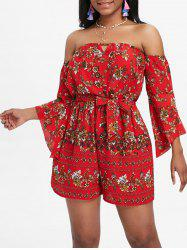 Printed Off The Shoulder Flare Sleeve Romper -