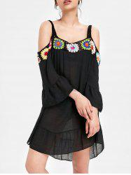 Cold Shoulder Crochet Insert Cover Up Dress -
