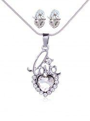 Rhinestone Love Heart Necklace with Earring Set -