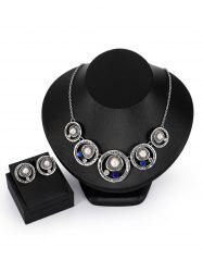 Faux Pearl Rhinestone Engraved Round Necklace with Earrings -