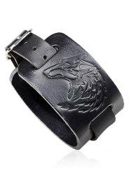 Punk Faux Leather Wolf Printing Bracelet -