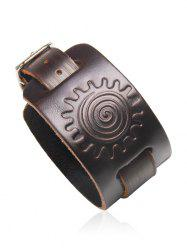 Vintage Faux Leather Sun Print Bracelet -
