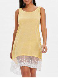 High Low Lace Panel Shift Dress -