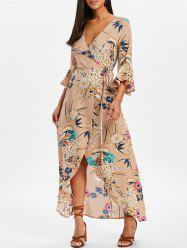 Bell Sleeve Flower Print  Wrap Maxi Dress -