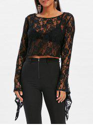 Bell Sleeve Lace Crop Blouse -