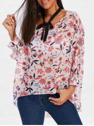 High Low Tie Up Print Blouse -