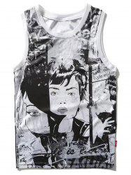 Illustration Pattern Tank Top -