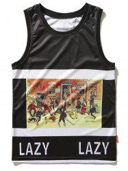 Cartoon Print Lazy Tank Top -