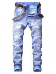 Zip Fly Straight Leg Destroyed Biker Jeans -