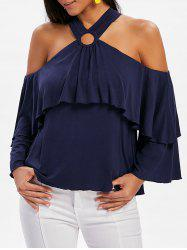 Cold Shoulder Long Sleeve Blouse -