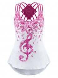 Musical Notes Print Strappy Tank Top -
