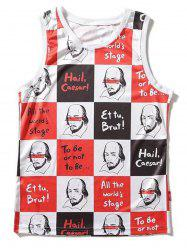Cartoon Print Checked Tank Top -