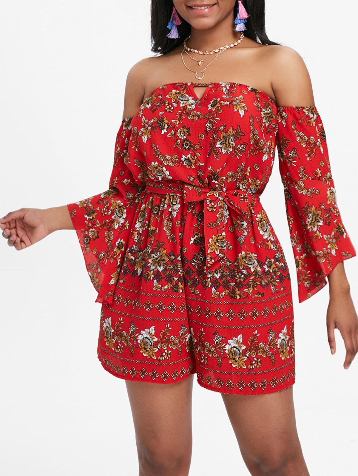 Discount Printed Off The Shoulder Flare Sleeve Romper