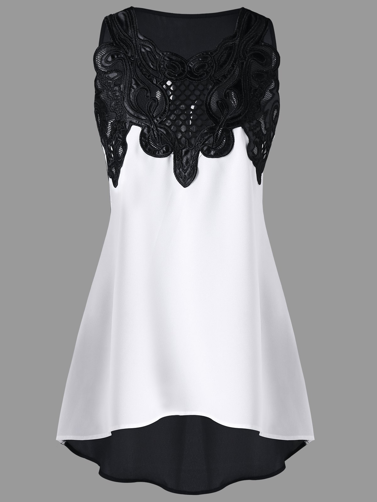 ca881ed1de 61% OFF   2019 Lace Embroidered High-low Sleeveless Top
