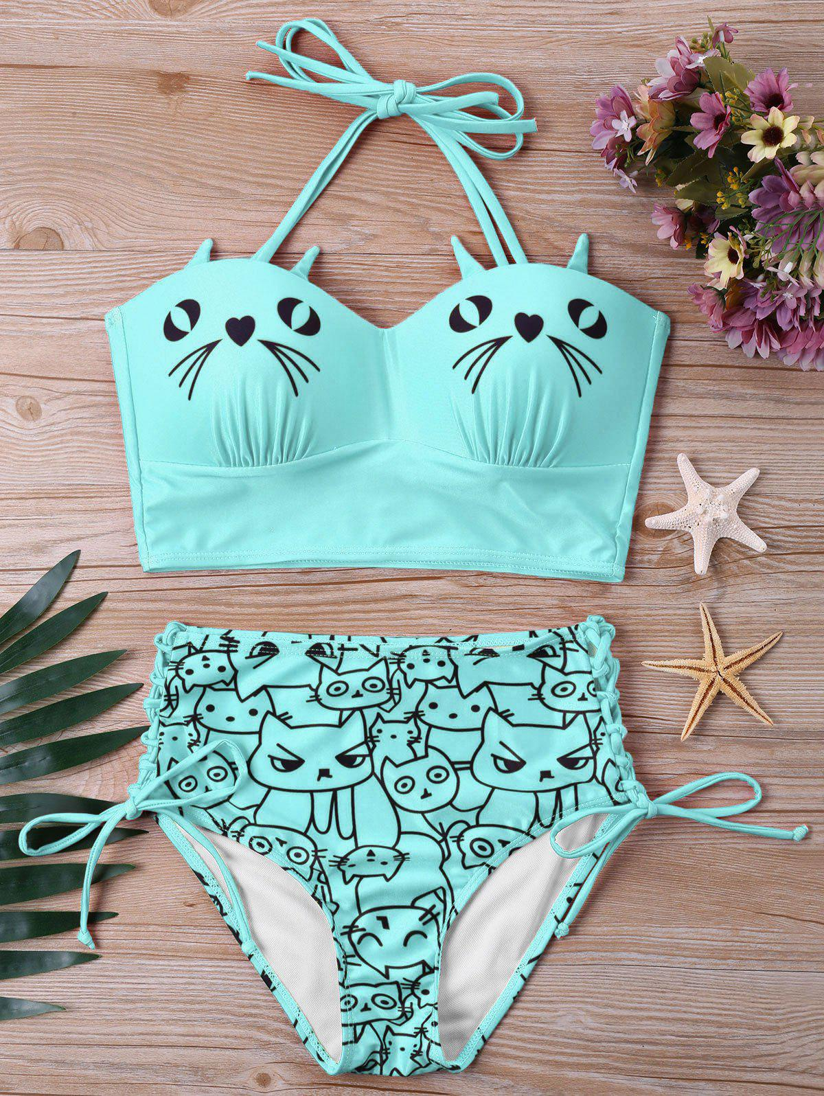 Fancy Kitten Print High Waist Bikini Set