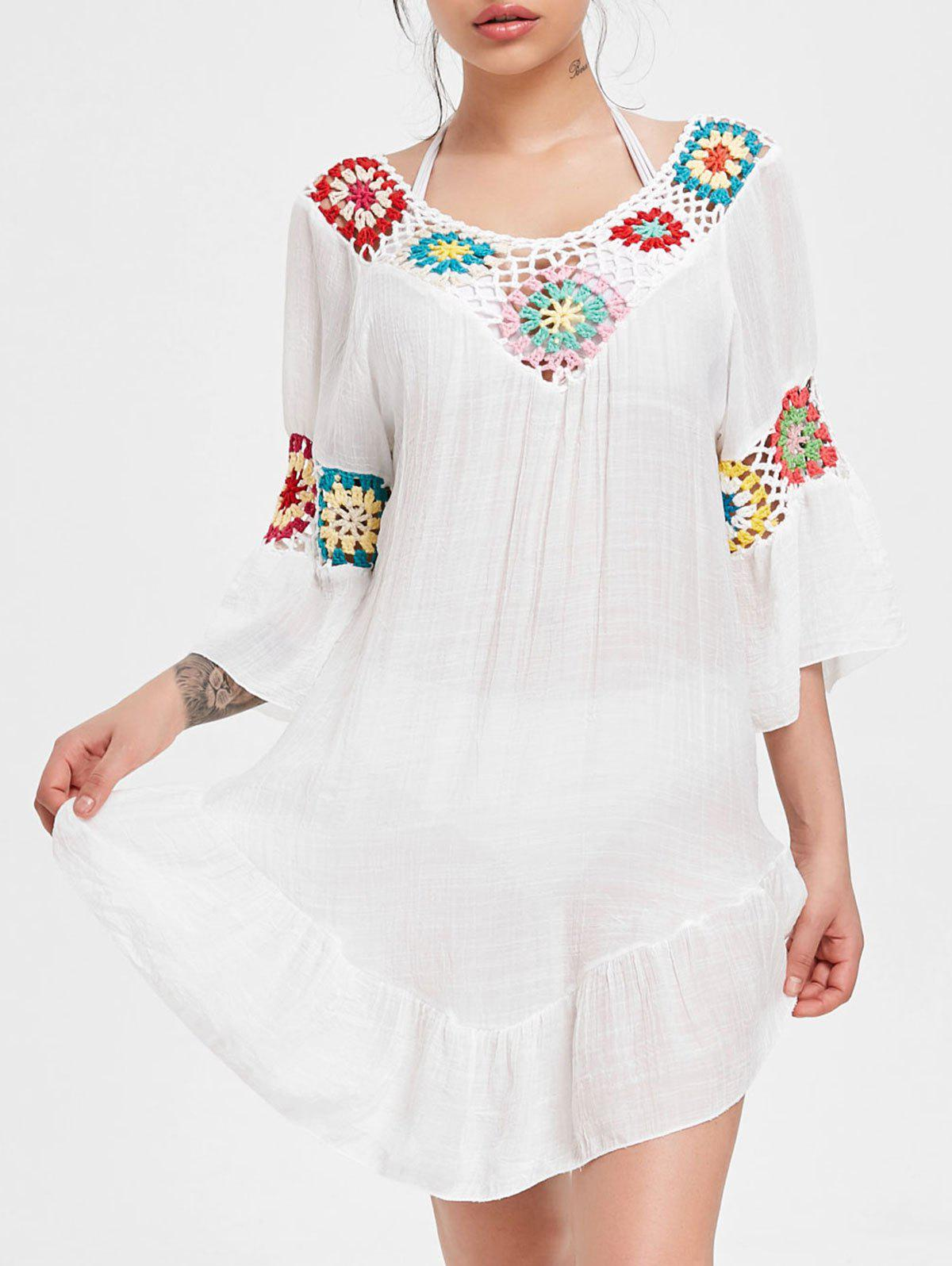 Store Crochet Panel Flounce Tunic Cover Up