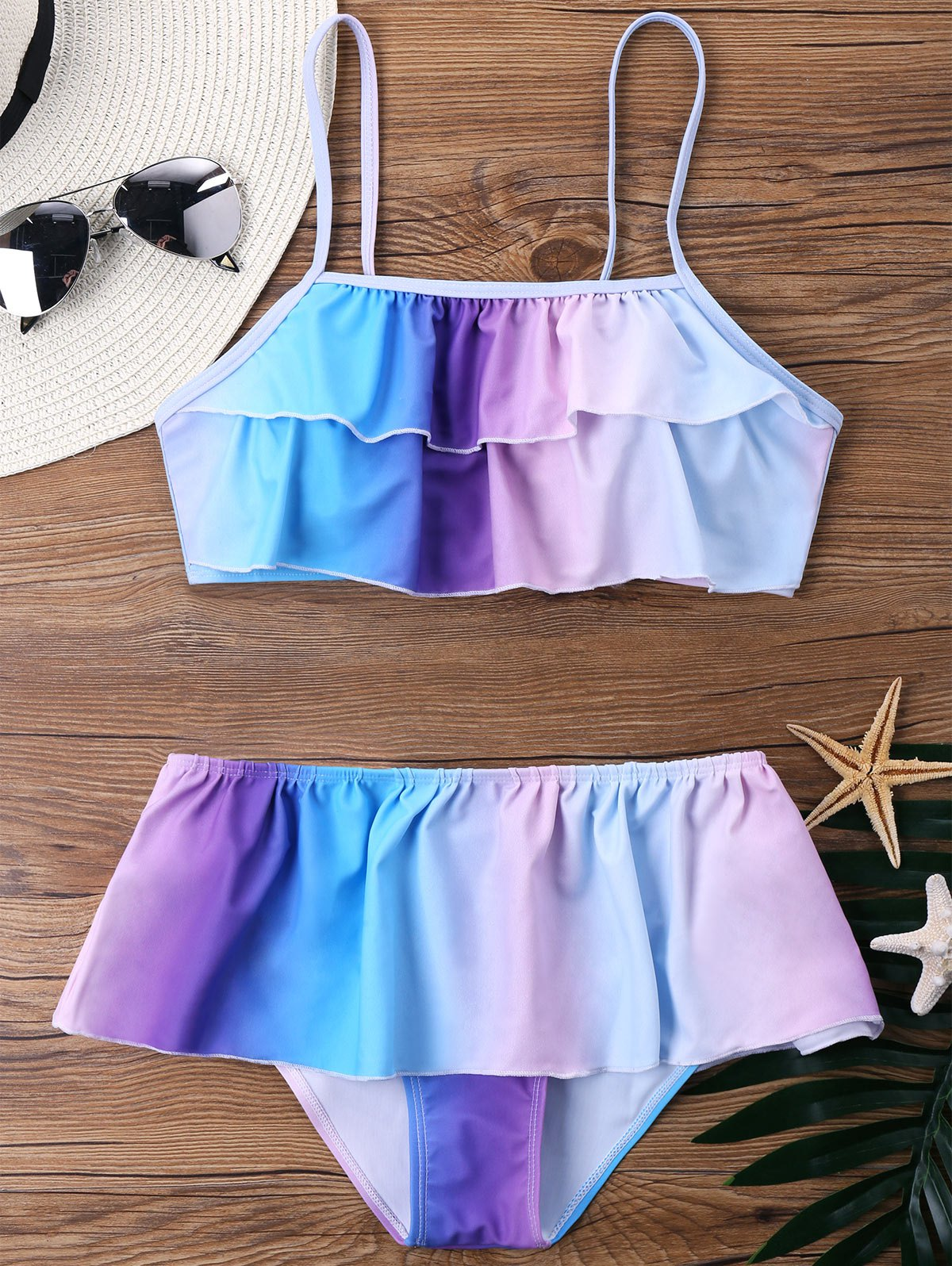Discount Ombre Bikini with Flounce