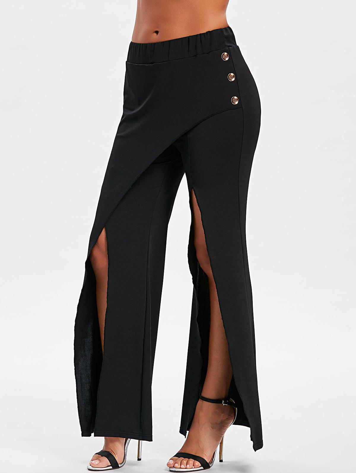 Fashion Buttoned Front Slit Overlap Flare Pants