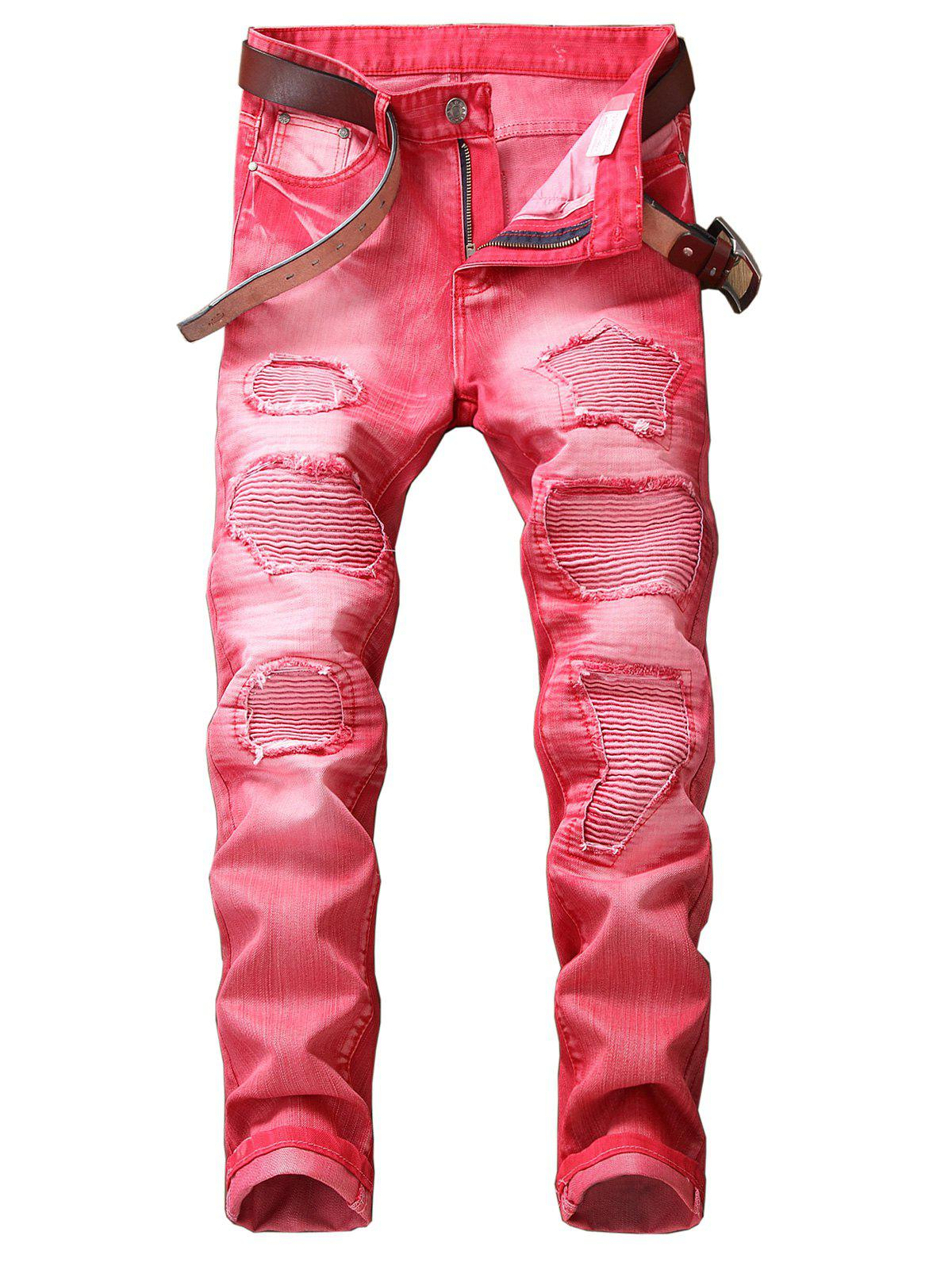 Latest Zip Fly Straight Leg Destroyed Biker Jeans