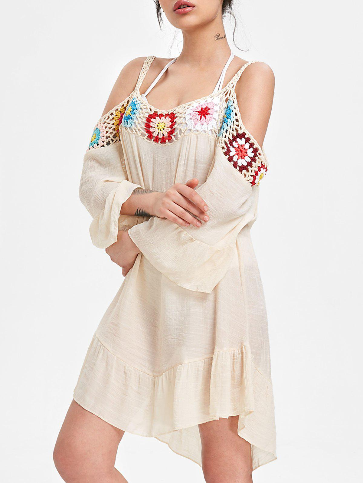 9822e210abe 62% OFF   2018 Cold Shoulder Crochet Insert Cover Up Dress In Beige ...