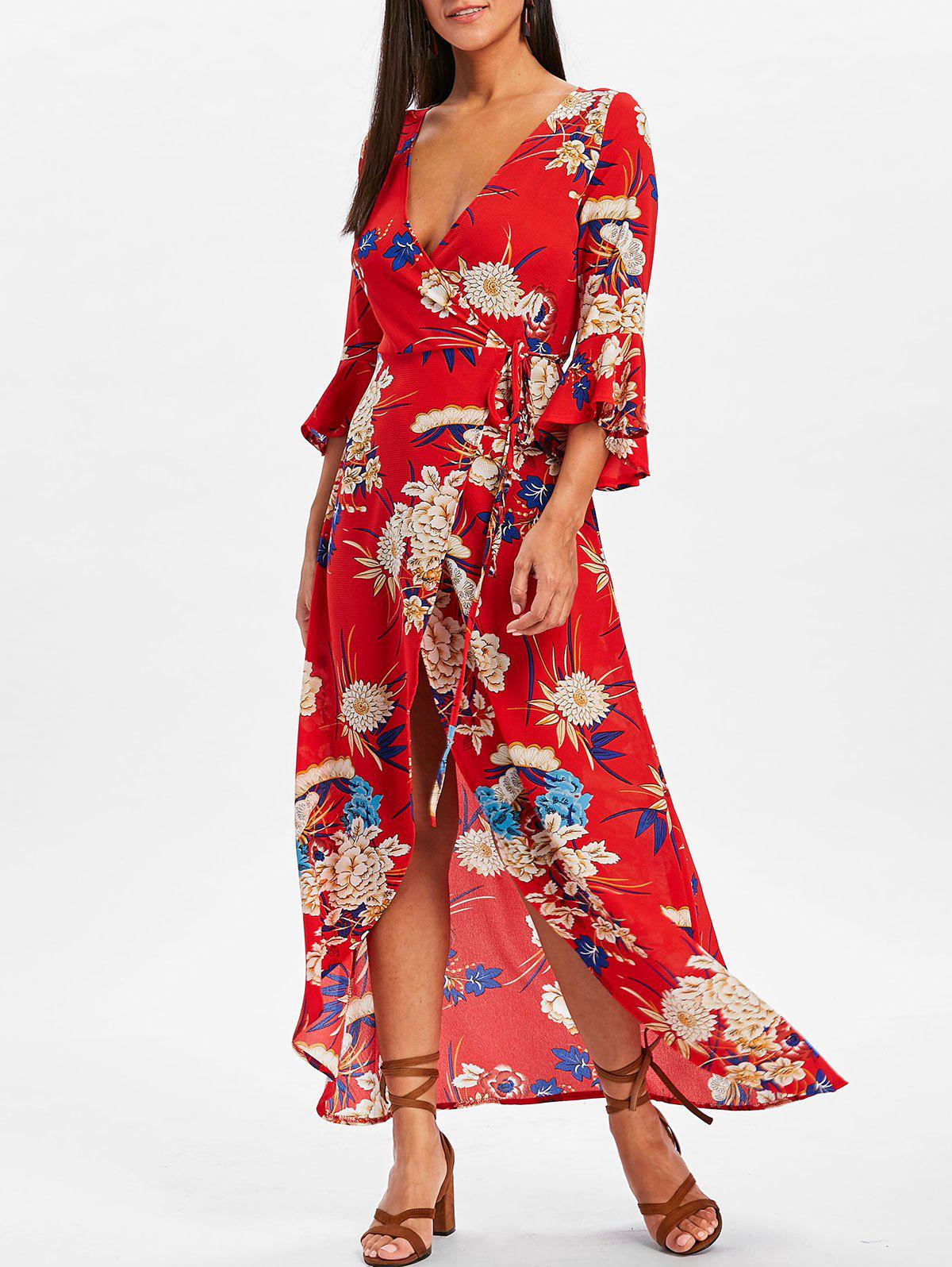 Shops Bell Sleeve Flower Print  Wrap Maxi Dress