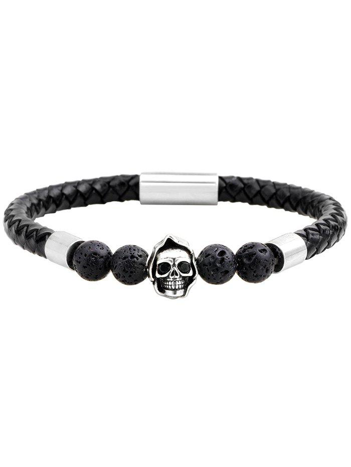 Hot PU Leather Rope Braid Skull Beaded Bracelet